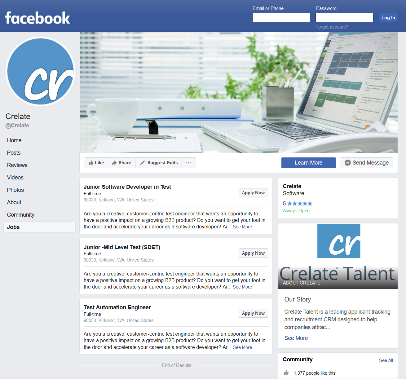 Facebook Crelate page